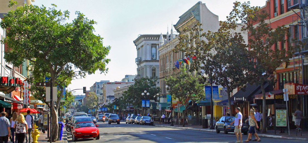 San Diego's Gaslamp Quarter is home to a high concentration of restored Victorian-era buildings