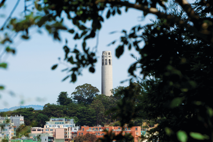Coit Tower in San Francisco stands at 210-feet tall
