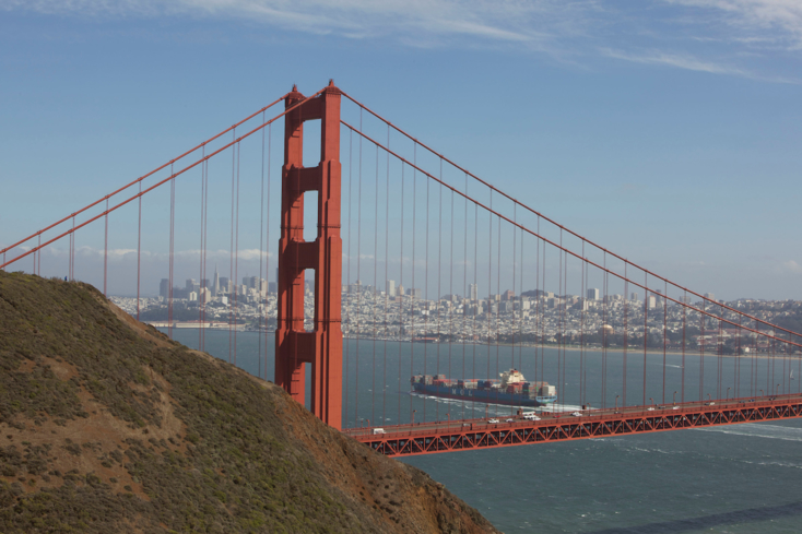 The Golden Gate Bridge connects the city of San Francisco to Marin County