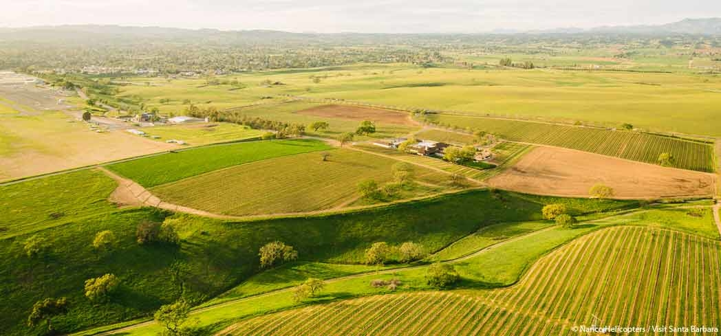 An aerial view of Santa Ynez Valley