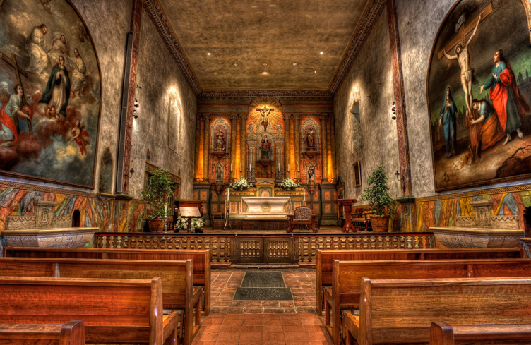 The ornate interior of the church of Santa Barbara Mission