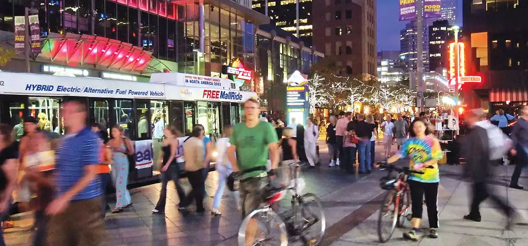 A view of 16th Street Mall in Denver