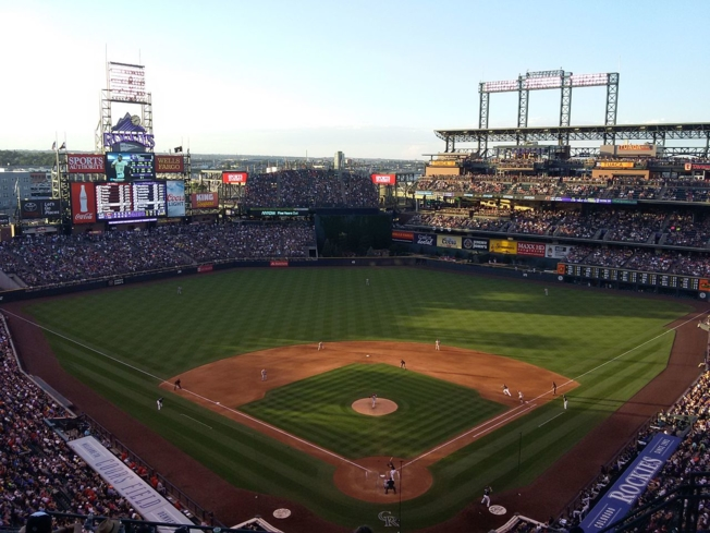 A baseball game at Coors Field in Denver