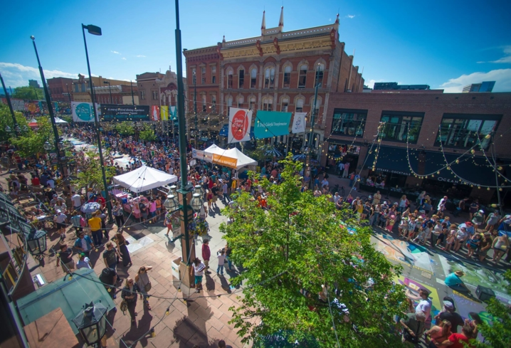 A bustling Larimer Square in Denver