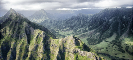 The lush green mountains of Hawaii