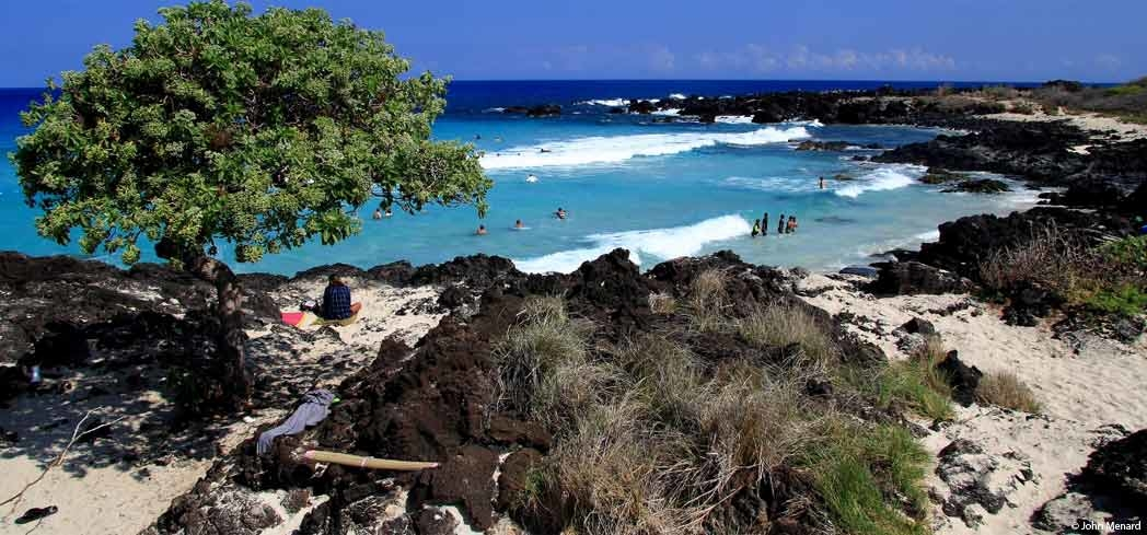 A view of Kekaha Kai State Park on the Big Island of Hawaii