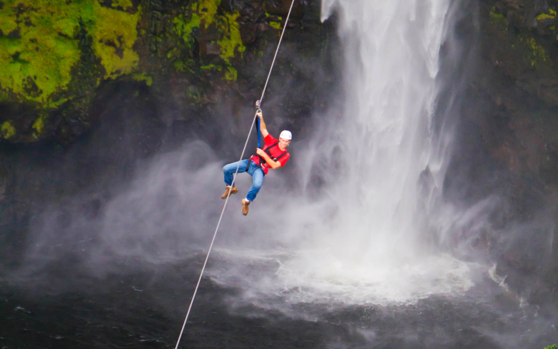 Zipline through the majestic Akaka Falls on the Big Island of Hawaii