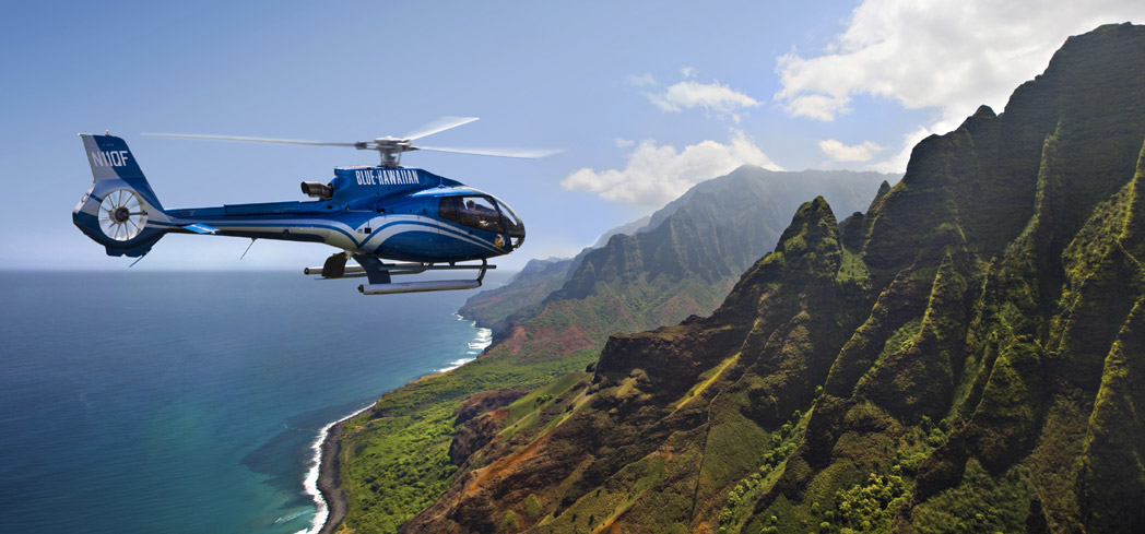Blue Hawaiian Helicopter Tours offers a breathtaking view of Kauai
