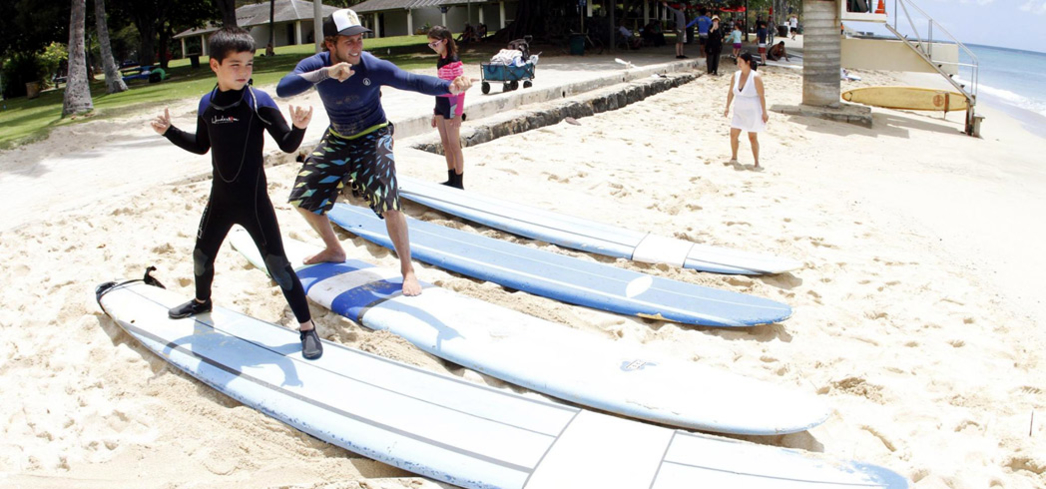 Take a surfing lesson with instructors from Hans Hedemann Surf School