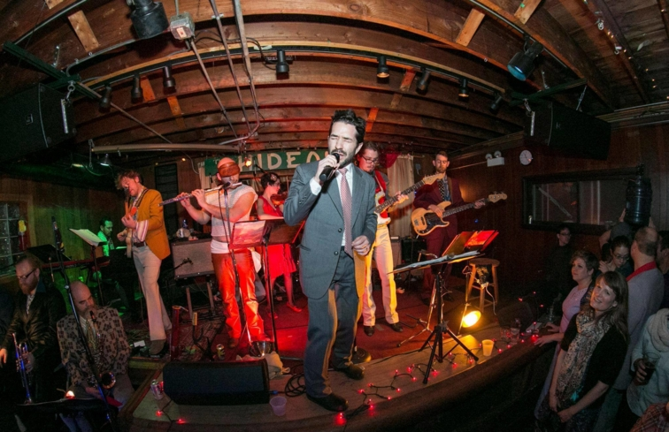 A band performing at The Hideout in Chicago