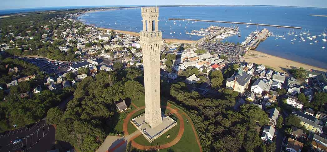 An aerial view of Pilgrim Monument in Provincetown