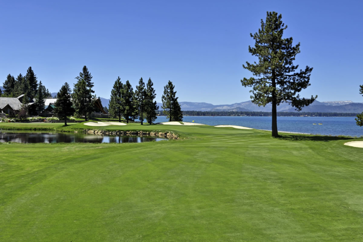 The 18 fairway at the Edgewood Tahoe Golf Course