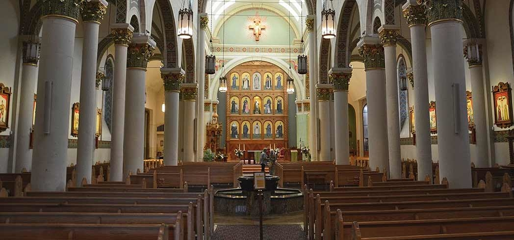 Inside The Cathedral Basilica of St. Francis of Assisi in Santa Fe, New Mexico