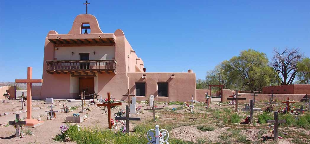 A church and cemetery at San Ildefonso Pueblo in New Mexico