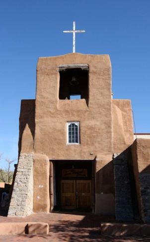 The exterior of San Miguel Chapel in Santa Fe, New Mexico