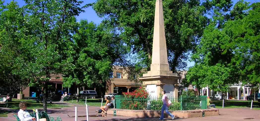 Santa Fe Plaza in New Mexico dates back to the 17th century