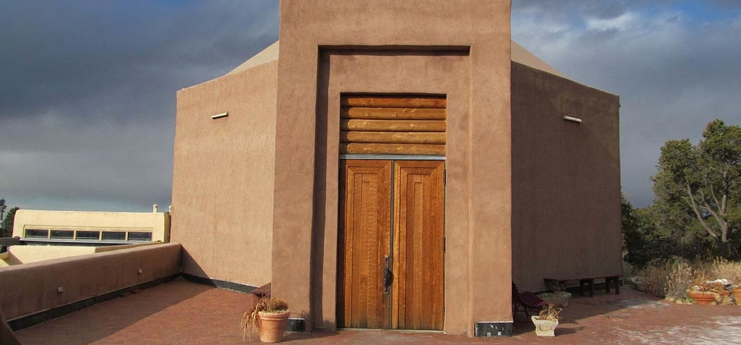 The Wheelwright Museum of the American Indian is modeled after the Navajo hooghan