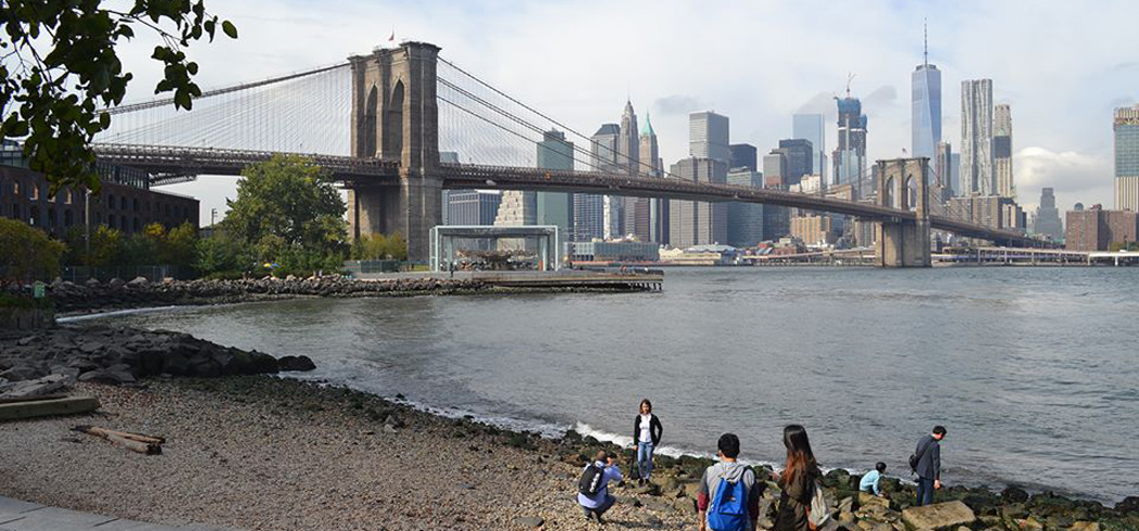 The Brooklyn Bridge is the first bridge to bind Brooklyn to Manhattan with stone and steel