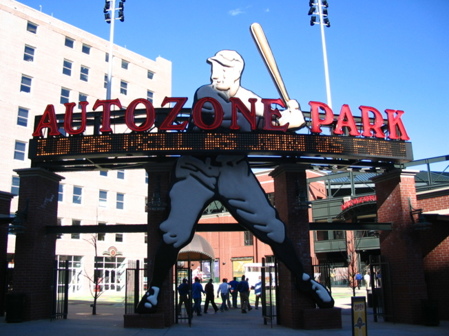 The exterior of AutoZone Park in downtown Memphis