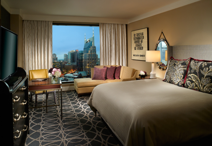 The deluxe King Guest Room at The Omni Nashville Hotel