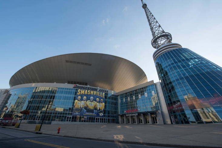 An exterior view of Bridgestone Arena in Nashville