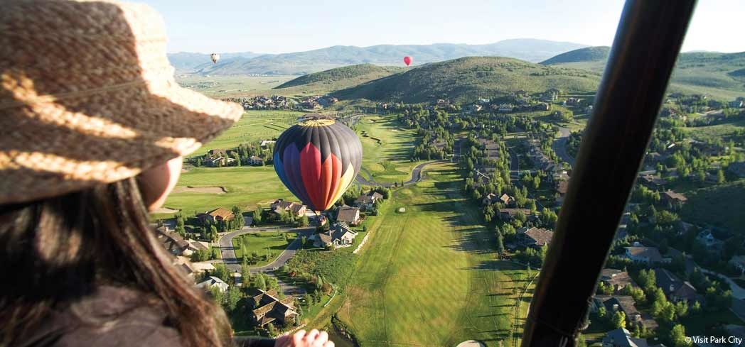 Take in a stunning aerial view of Park City during a hot air balloon excursion