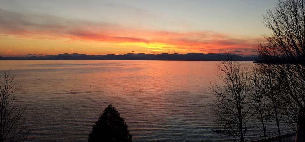 Lake Champlain in Vermont at sunset