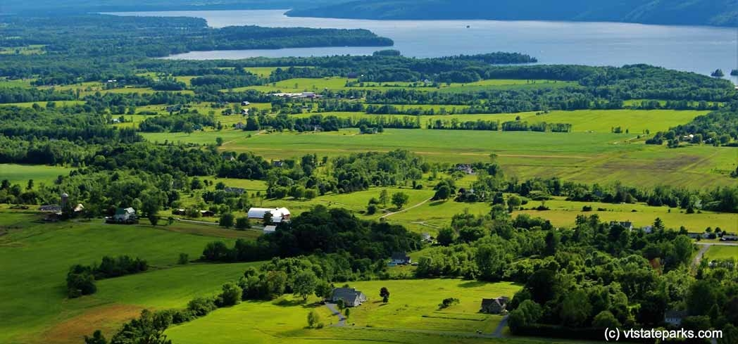 An aerial view of Lake Champlain and the Champlain Valley