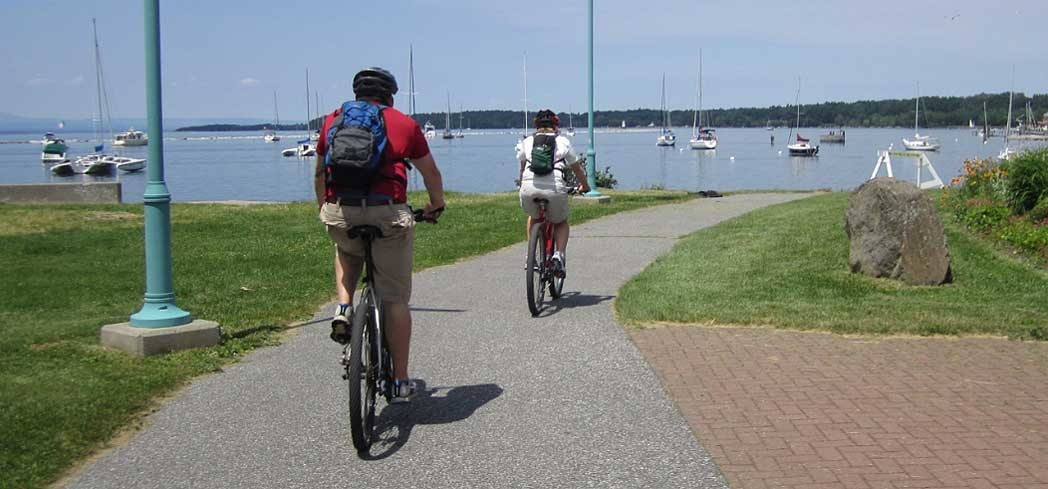 The bike path at Waterfront Park in Burlington, Vermont
