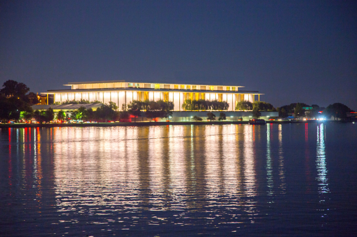 A view of The Kennedy Center at night in Washington, D.C.
