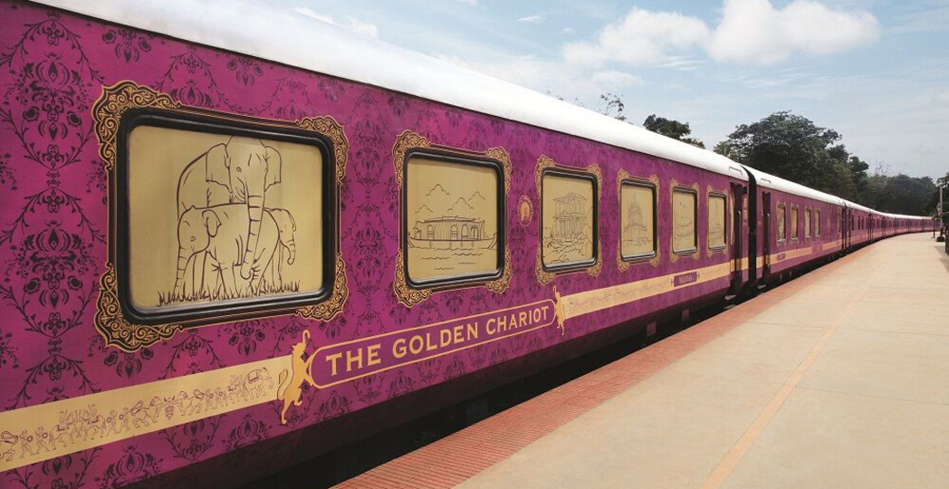 The exterior of a car on the Golden Chariot
