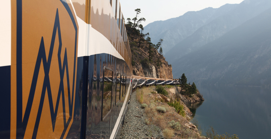 The Rocky Mountaineer on the rails