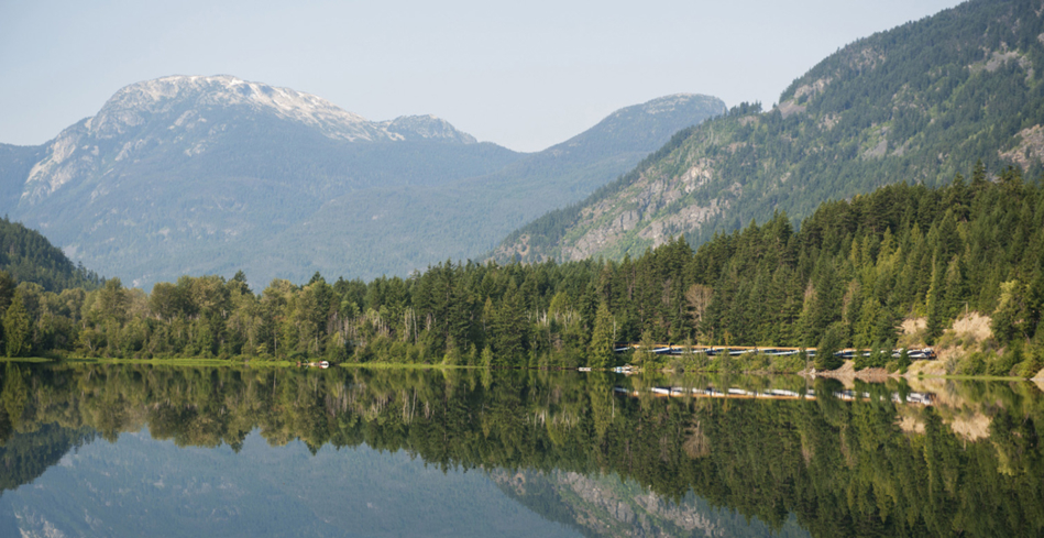 The Rocky Mountaineer train reflection of Gates Lake, BC