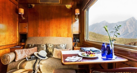 The Blue Train luxury suite's double bed during the day