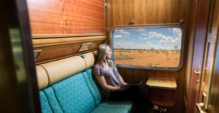 The Ghan's Gold Service cabin twin bed during the day