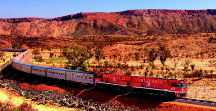The Ghan passing through the MacDonnell Ranges
