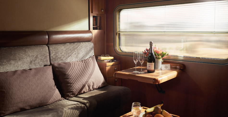 The Ghan's Platinum Service cabin during the day
