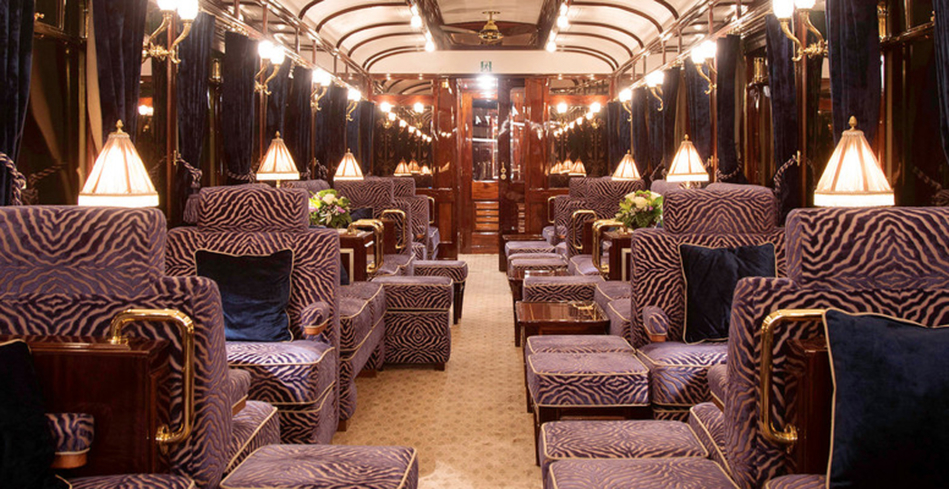 The lounge car on the Venice-Simplon Orient Express