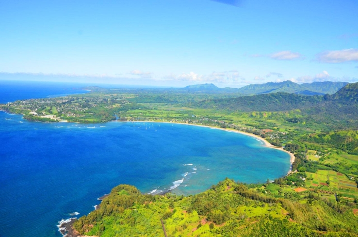 An aerial view of Kauai, also know as the Garden Isle