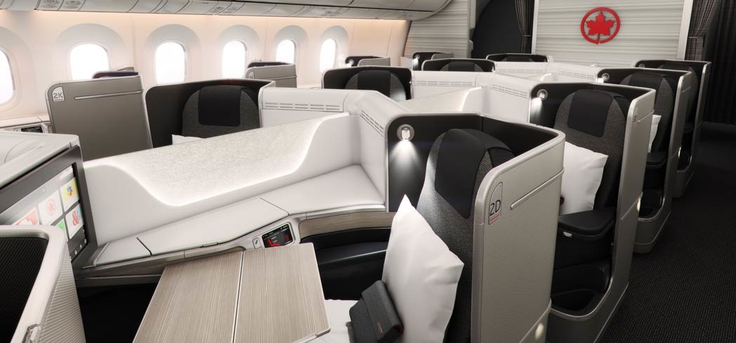 Air Canada's International Business Class cabin on the 787 Dreamliner