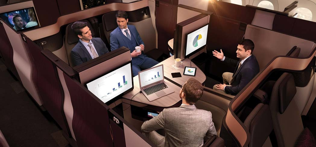 The quad aboard Qatar Airways Business Class