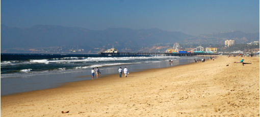 Enjoy the miles of coastline that California has to offer, such as at Santa Monica State Beach.