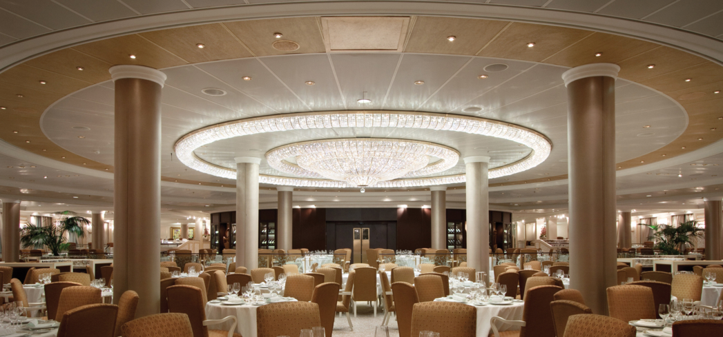 The Grand Dining Room onboard the Oceana Riviera, one of GAYOT's Best Cruises for Specialty Dining