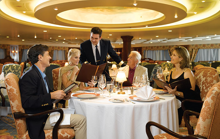 The grand dining room of the Oceania Riviera ship