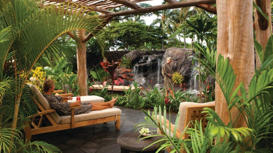Relax in the gardens of Hualalai Spa at Four Seasons Resort Hualalai