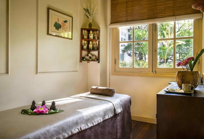 A treatment room at Raffle Spa at Raffles Grand Hotel d'Angkor