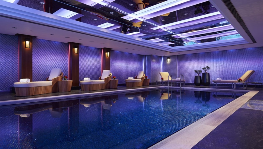 The indoor swimming pool at The Mandarin Spa, Hong Kong