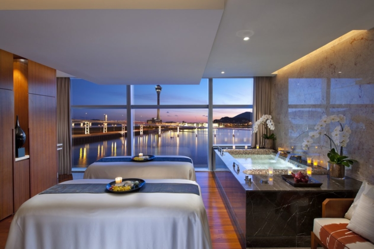 A treatment room at the Spa at Mandarin Oriental, Macau