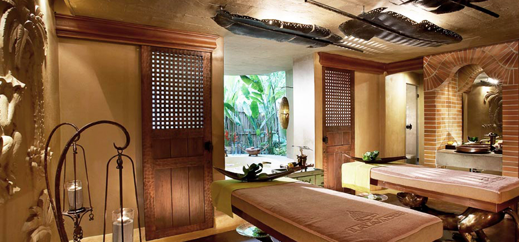 The earthy couple's treatment room at The Rayavadee Spa at Rayavadee, one of GAYOT's Top 10 Romantic Spas in the World