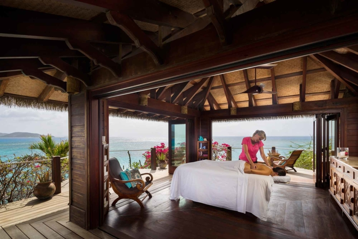 A treatment in the Bali Leha room at the spa on Necker Island